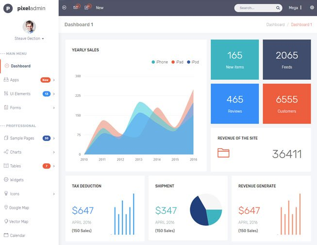 Pixel Bootstrap Admin Template